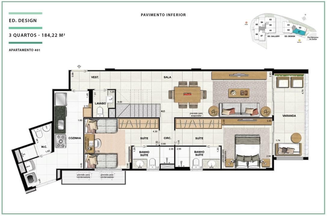 Rooftop Ed. Design 03 quartos | 184,22m² (Pavimento Inferior) | Open Gallery & Design – Apartamentoem  Laranjeiras - Rio de Janeiro - Rio de Janeiro