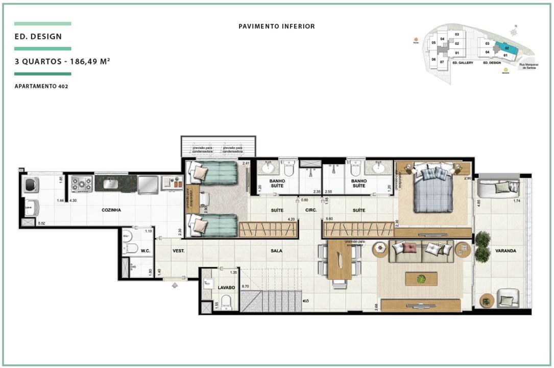 Rooftop Ed. Design 03 quartos | 186,49m² (Pavimento Inferior) | Open Gallery & Design – Apartamentoem  Laranjeiras - Rio de Janeiro - Rio de Janeiro