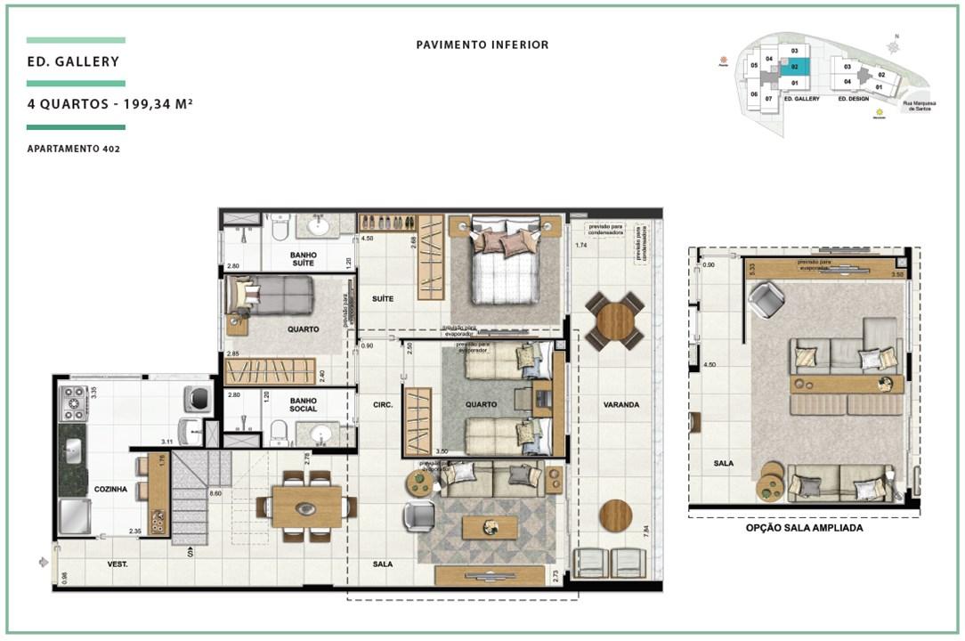 Rooftop Ed. Gallery 04 quartos | 199,34m² (Pavimento Inferior) | Open Gallery & Design – Apartamentoem  Laranjeiras - Rio de Janeiro - Rio de Janeiro