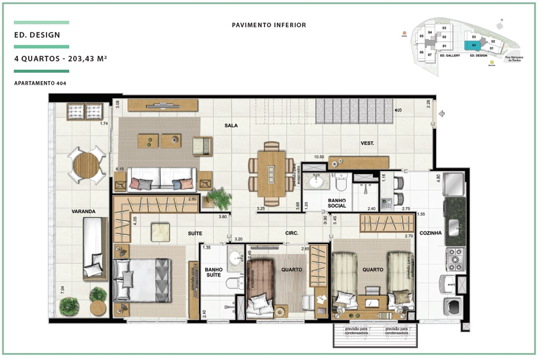 Rooftop Ed. Design 04 quartos | 203,43m² (Pavimento Inferior) | Open Gallery & Design – Apartamentoem  Laranjeiras - Rio de Janeiro - Rio de Janeiro