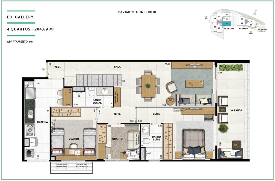 Rooftop Ed. Gallery 04 quartos | 204,89m² (Pavimento Inferior) | Open Gallery & Design – Apartamentoem  Laranjeiras - Rio de Janeiro - Rio de Janeiro