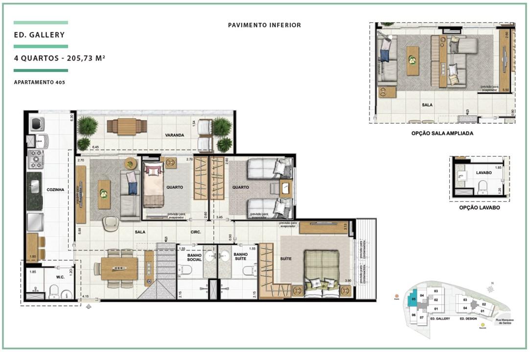 Open Gallery _ Design   205,73m²   04 quartos   ED. GALLERY (PAV. INFERIOR) | Open Gallery & Design – Apartamentoem  Laranjeiras - Rio de Janeiro - Rio de Janeiro