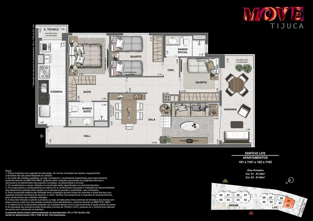 3 Quartos 87m | Move Tijuca – Apartamentona  Tijuca - Rio de Janeiro - Rio de Janeiro