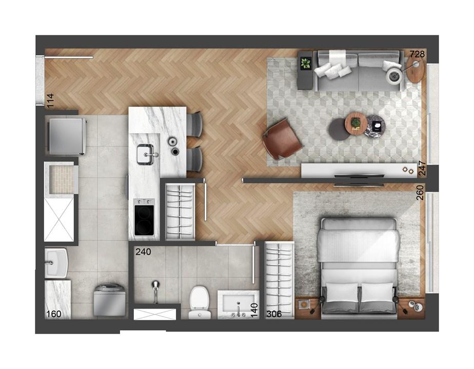 1 DORM. 43m² | FLOAT RESIDENCES – Apartamentono  Petrópolis - Porto Alegre - Rio Grande do Sul