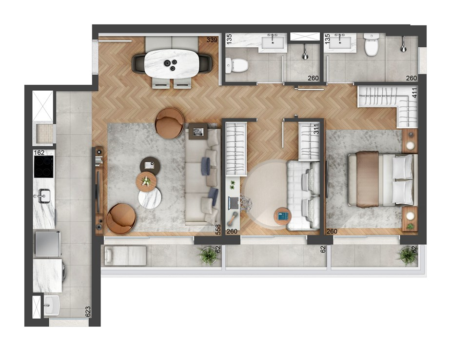 Planta de 74m² | FLOAT RESIDENCES – Apartamentono  Petrópolis - Porto Alegre - Rio Grande do Sul