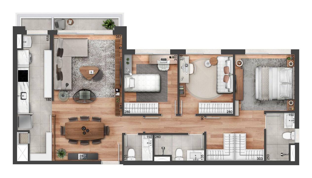 Planta de 99m² | FLOAT RESIDENCES – Apartamentono  Petrópolis - Porto Alegre - Rio Grande do Sul