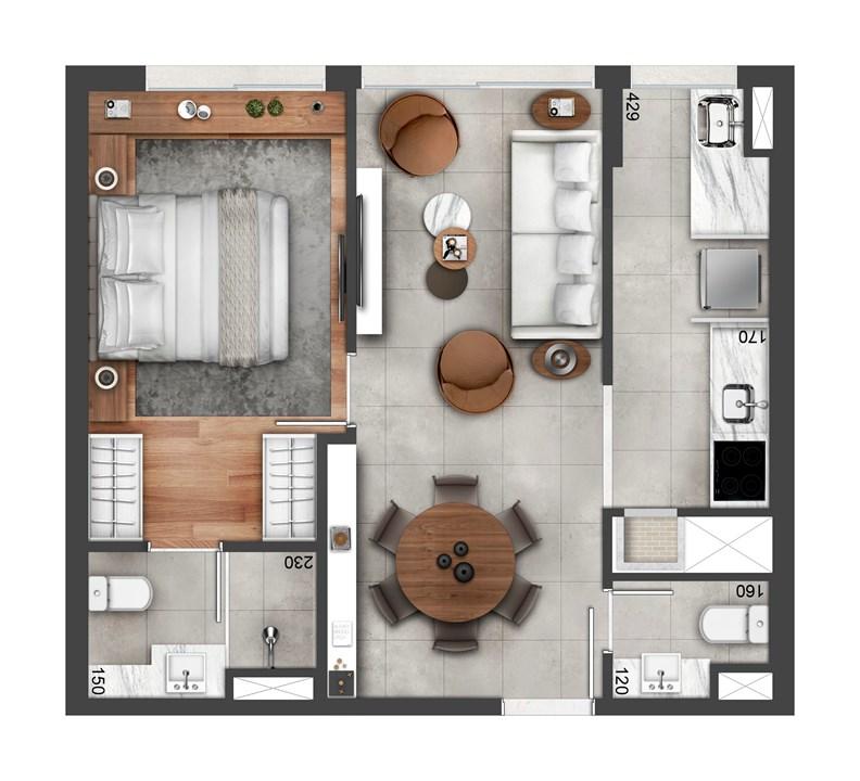 Planta de 49m² | FLOAT RESIDENCES – Apartamentono  Petrópolis - Porto Alegre - Rio Grande do Sul