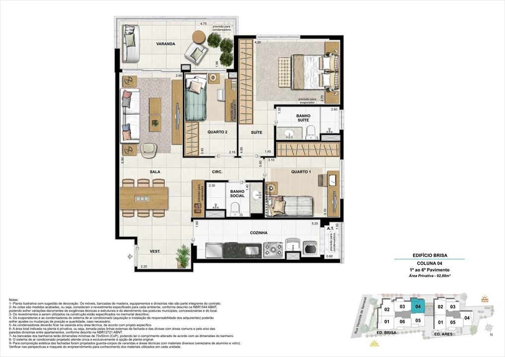Bloco 01 Coluna 04 - 92,88m² | Aura Tijuca – Apartamentona  Tijuca - Rio de Janeiro - Rio de Janeiro
