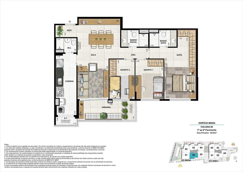 Bloco 01 Coluna 06 - 94,93m² | Aura Tijuca – Apartamentona  Tijuca - Rio de Janeiro - Rio de Janeiro