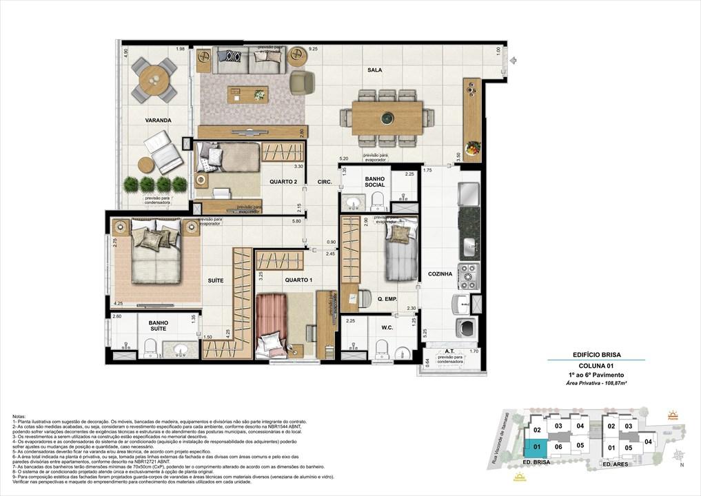 Bloco 01 Coluna 01 - 108,87m² | Aura Tijuca – Apartamentona  Tijuca - Rio de Janeiro - Rio de Janeiro