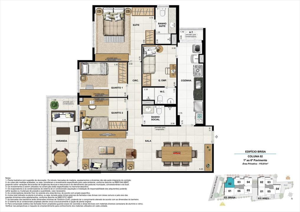 Bloco 01 Coluna 02 - 110,61M² | Aura Tijuca – Apartamentona  Tijuca - Rio de Janeiro - Rio de Janeiro