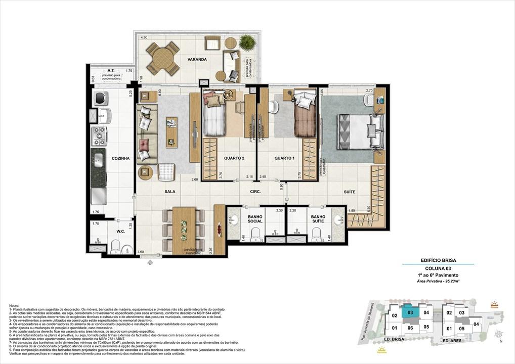 Bloco 01 Coluna 03 - 95,23m² | Aura Tijuca – Apartamentona  Tijuca - Rio de Janeiro - Rio de Janeiro