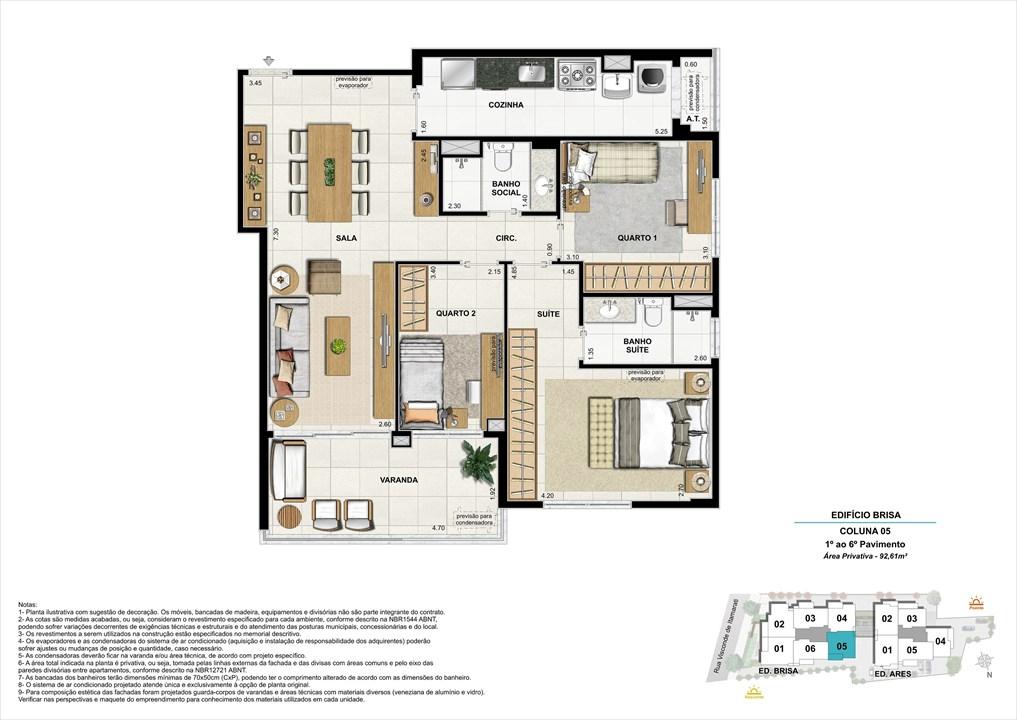 Bloco 01 Coluna 05 - 92,61m² | Aura Tijuca – Apartamentona  Tijuca - Rio de Janeiro - Rio de Janeiro