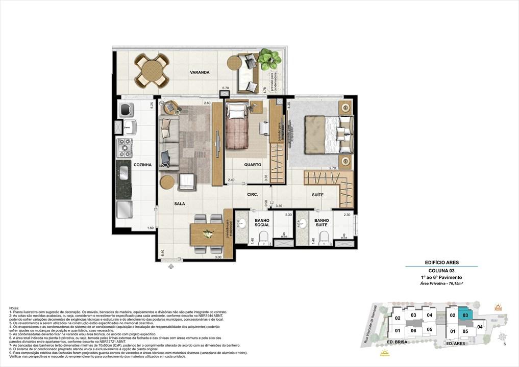 Bloco 02 Coluna 03 - 76,15m² | Aura Tijuca – Apartamentona  Tijuca - Rio de Janeiro - Rio de Janeiro