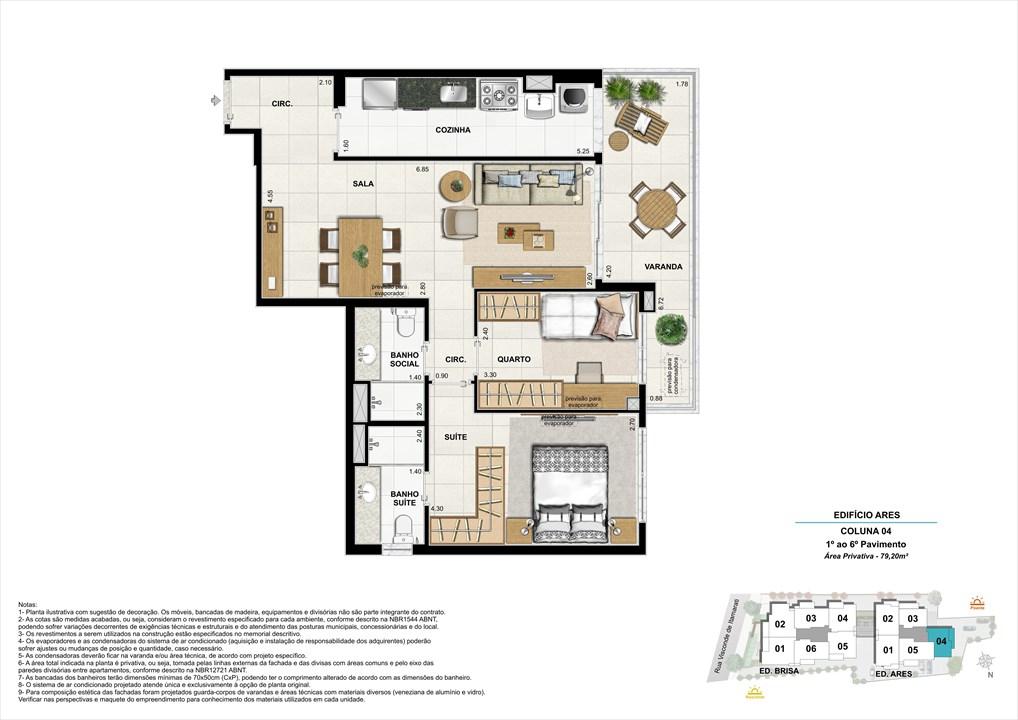 Bloco 02 Coluna 04 - 79,20m² | Aura Tijuca – Apartamentona  Tijuca - Rio de Janeiro - Rio de Janeiro