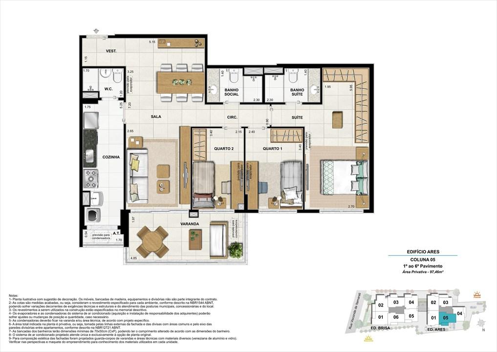 Bloco 02 Coluna 05 - 97,46m² | Aura Tijuca – Apartamentona  Tijuca - Rio de Janeiro - Rio de Janeiro