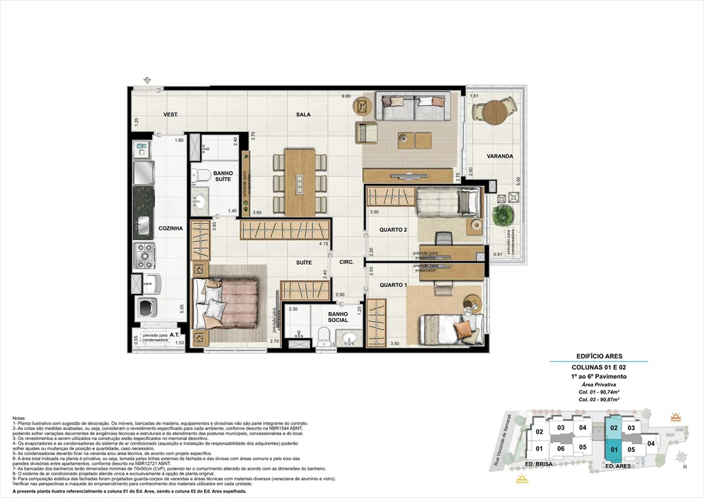 Bloco 02 Colunas 01 e 02 - 90,74m² e 90,87m² | Aura Tijuca – Apartamentona  Tijuca - Rio de Janeiro - Rio de Janeiro