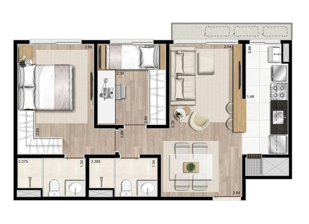 2 dormitórios - 58m² | Prime – ApartamentoJunto ao   Menino Deus - Porto Alegre - Rio Grande do Sul