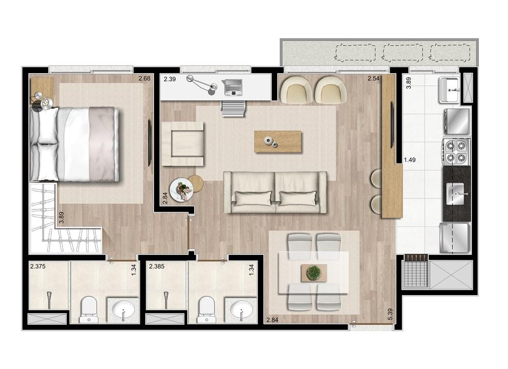 2 dormitórios com living estendido - 58m² | Prime – ApartamentoJunto ao   Menino Deus - Porto Alegre - Rio Grande do Sul