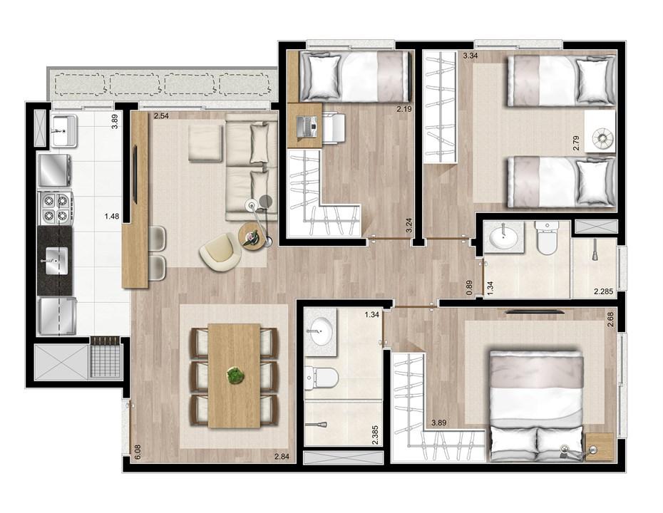3 dormitórios - 72m² | Prime – ApartamentoJunto ao   Menino Deus - Porto Alegre - Rio Grande do Sul