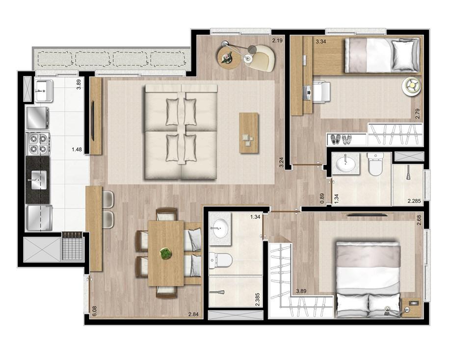 3 dormitórios com living estendido - 72m² | Prime – ApartamentoJunto ao   Menino Deus - Porto Alegre - Rio Grande do Sul