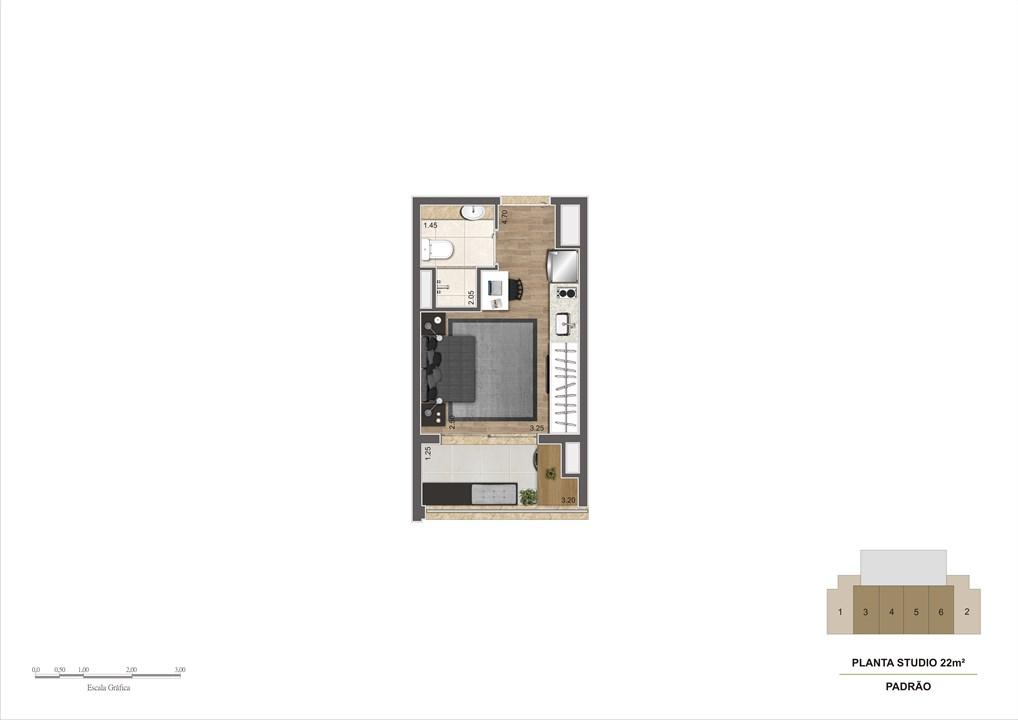 Planta tipo 22m² | Estudio Klabin – Apartamentona  Chácara Klabin - São Paulo - São Paulo