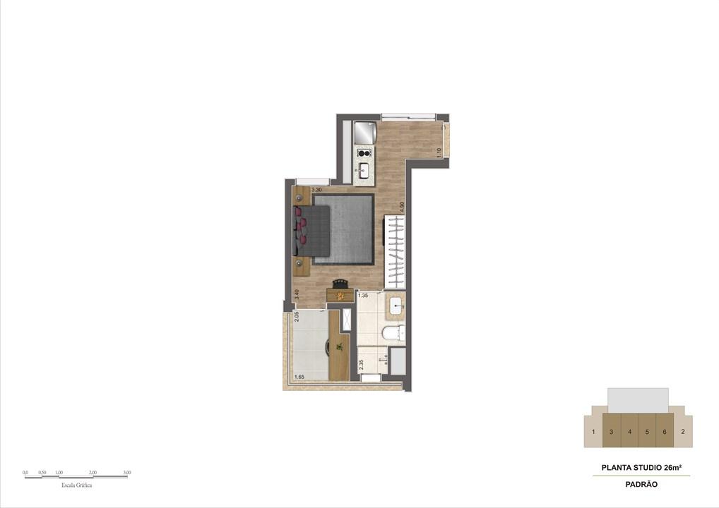 Planta tipo 26m² | Estudio Klabin – Apartamentona  Chácara Klabin - São Paulo - São Paulo