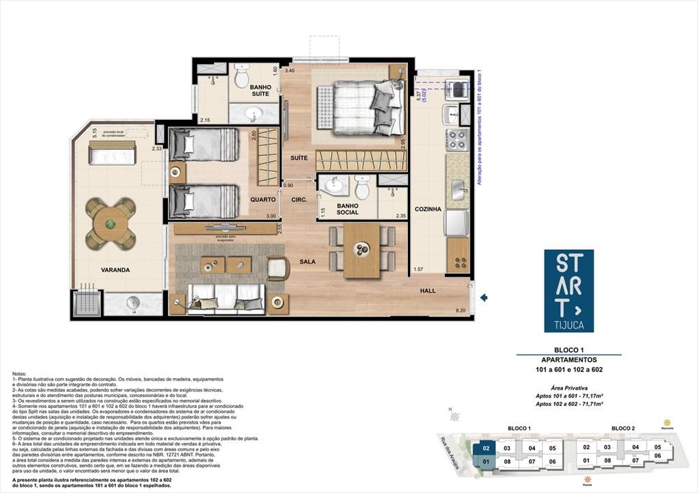 PLANTA TIPO | BLOCO 01, COLUNA 02 | Start Tijuca – Apartamentona  Tijuca - Rio de Janeiro - Rio de Janeiro