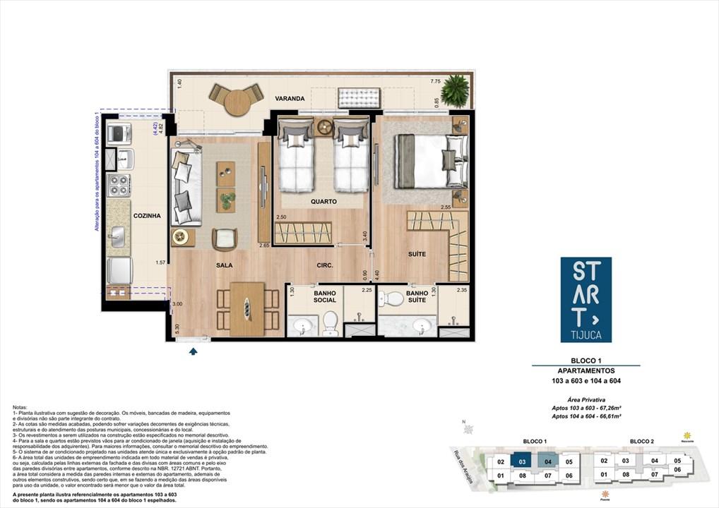 PLANTA TIPO | BLOCO 01, COLUNA 03 | Start Tijuca – Apartamentona  Tijuca - Rio de Janeiro - Rio de Janeiro