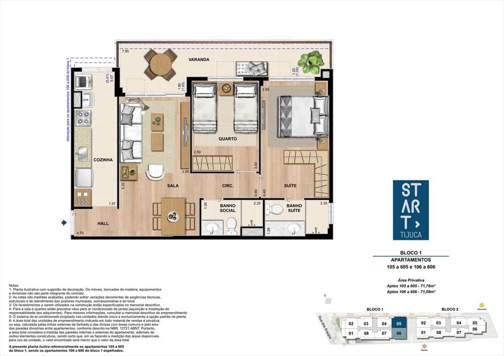 PLANTA TIPO | BLOCO 01, COLUNA 05 | Start Tijuca – Apartamentona  Tijuca - Rio de Janeiro - Rio de Janeiro