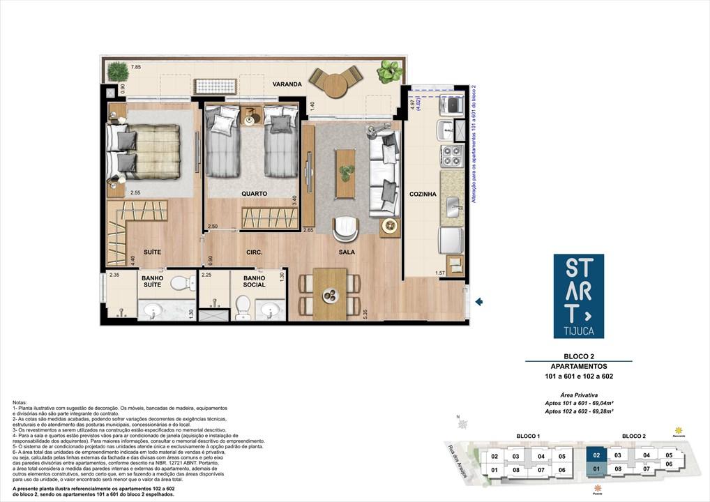 PLANTA TIPO | BLOCO 02, COLUNA 02 | Start Tijuca – Apartamentona  Tijuca - Rio de Janeiro - Rio de Janeiro