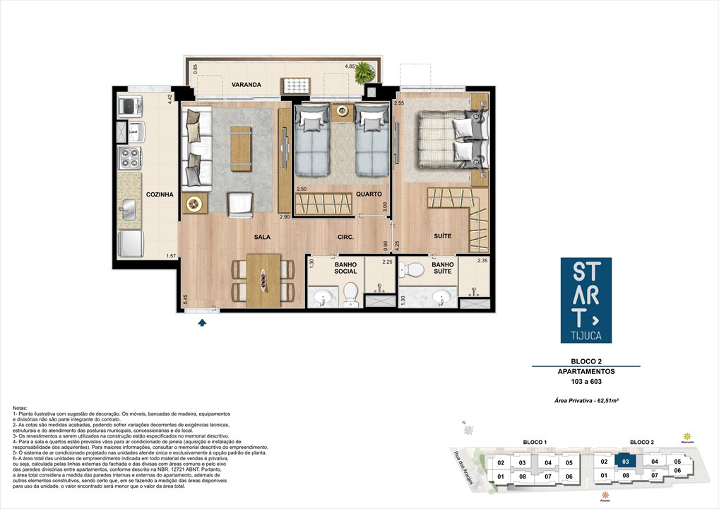 PLANTA TIPO | BLOCO 02, COLUNA 03 | Start Tijuca – Apartamentona  Tijuca - Rio de Janeiro - Rio de Janeiro