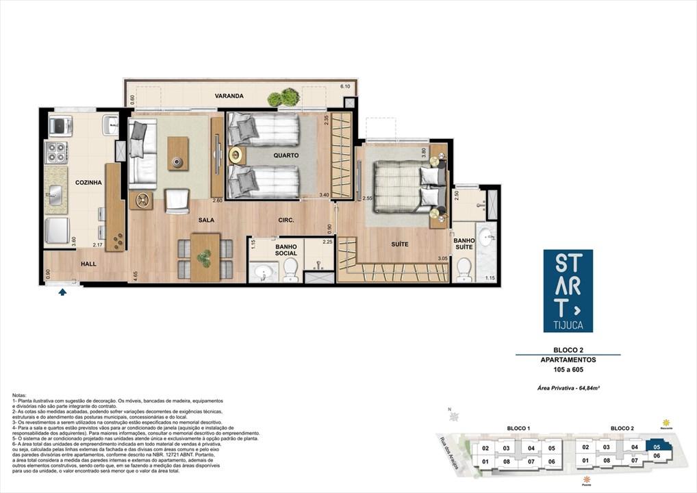 PLANTA TIPO | BLOCO 02, COLUNA 05 | Start Tijuca – Apartamentona  Tijuca - Rio de Janeiro - Rio de Janeiro