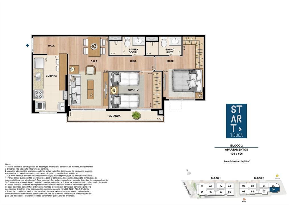 PLANTA TIPO | BLOCO 02, COLUNA 06 | Start Tijuca – Apartamentona  Tijuca - Rio de Janeiro - Rio de Janeiro