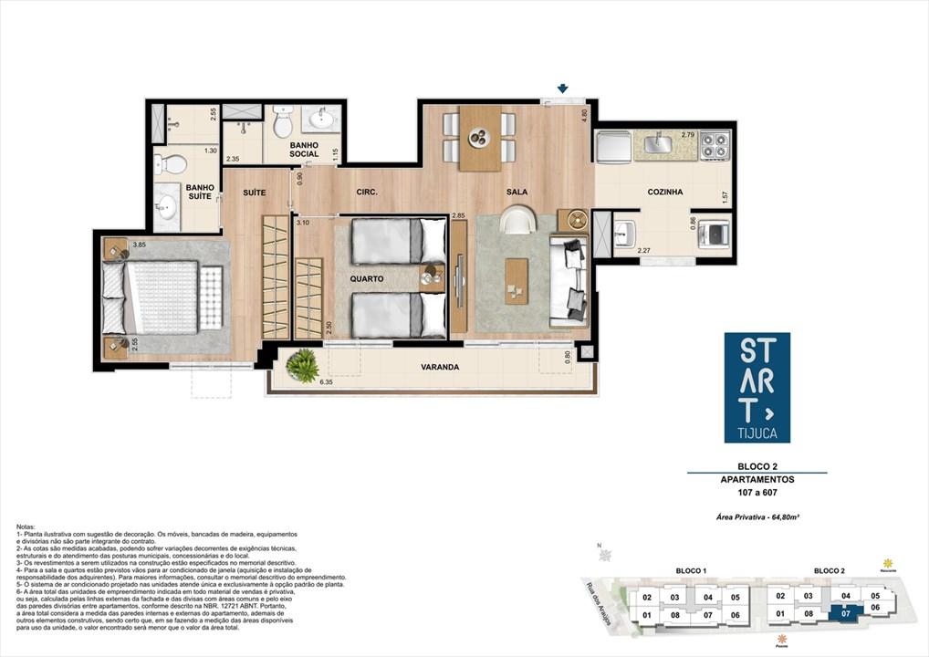 PLANTA TIPO | BLOCO 02, COLUNA 07 | Start Tijuca – Apartamentona  Tijuca - Rio de Janeiro - Rio de Janeiro