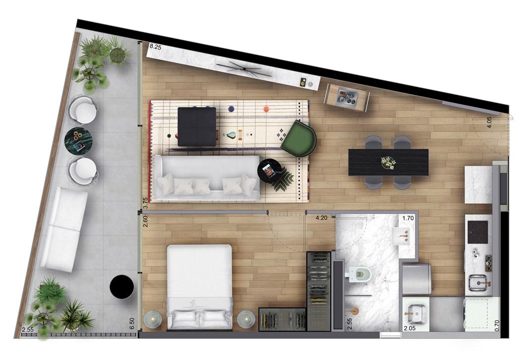 Perspectiva planta tipo 63m² - final 1 | FLOAT by Yoo – Apartamentona  Vila Olímpia - São Paulo - São Paulo