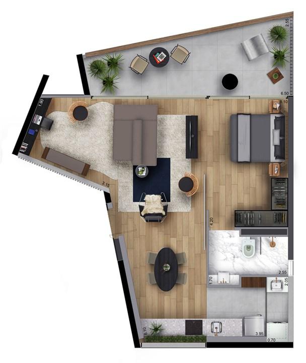 Perspectiva planta tipo 69m² - final 3 | FLOAT by Yoo – Apartamentona  Vila Olímpia - São Paulo - São Paulo