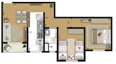 Planta 49 m² - 2 Quartos