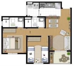 Planta 54 m² - 2 Quartos
