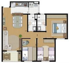 Planta 71 m² - 3 Quartos