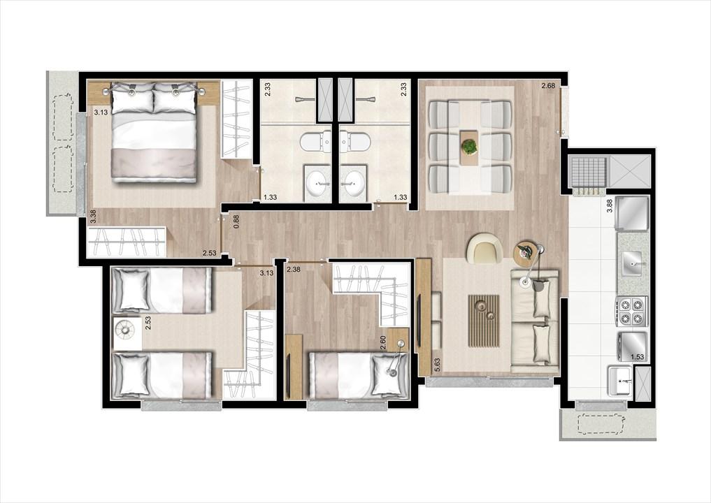 Planta 3 Dorms com Suíte 67m²  | Prime Altos do Germânia – Apartamentono  Passo d'Areia - Porto Alegre - Rio Grande do Sul
