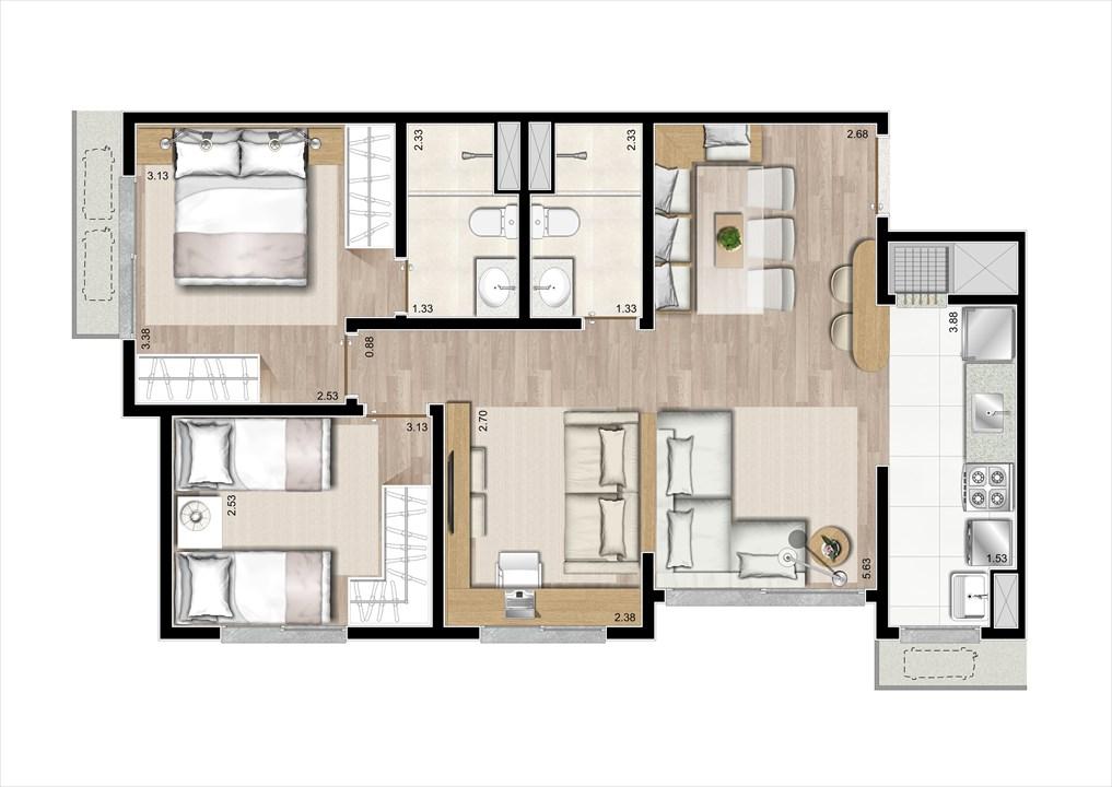 Planta 3 Dorms Ampliada com Suíte 67m²  | Prime Altos do Germânia – Apartamentono  Passo d'Areia - Porto Alegre - Rio Grande do Sul