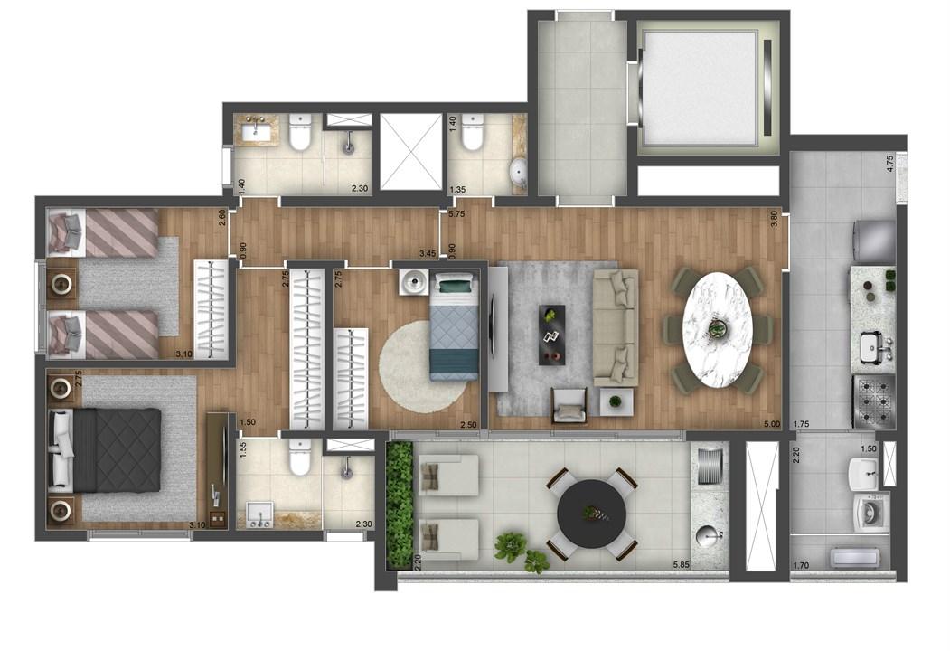Planta Tipo 100m² | Atmosfera Brooklin – Apartamentono  Brooklin - São Paulo - São Paulo