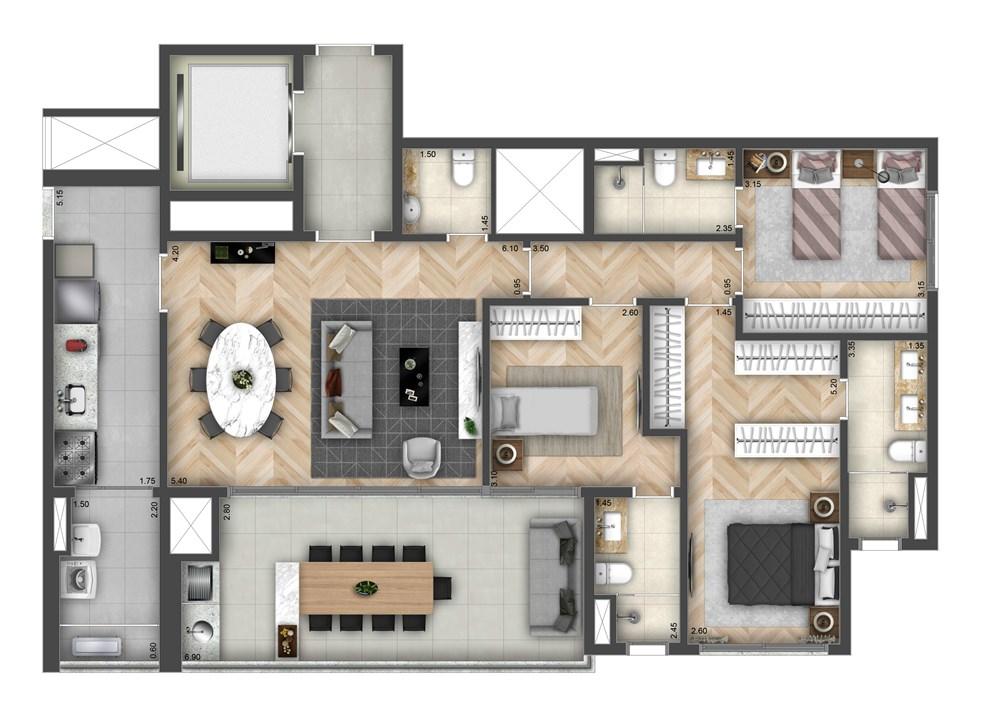 Planta Tipo 125m² | Atmosfera Brooklin – Apartamentono  Brooklin - São Paulo - São Paulo