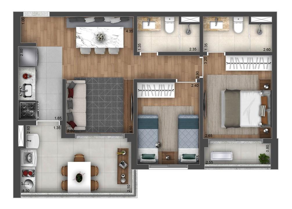 Planta Tipo 65m² | Atmosfera Brooklin – Apartamentono  Brooklin - São Paulo - São Paulo