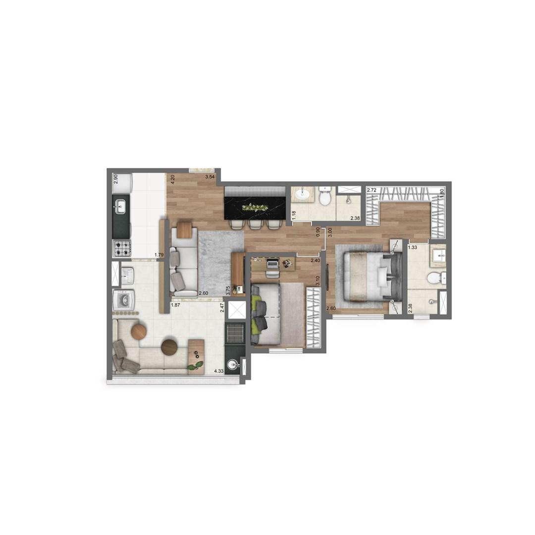 67 m² | 2 quartos (1 suíte)