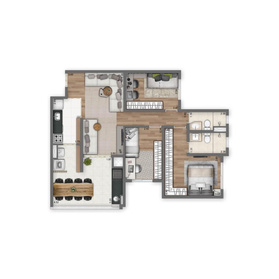 84 m² | 3 quartos (1 suíte)