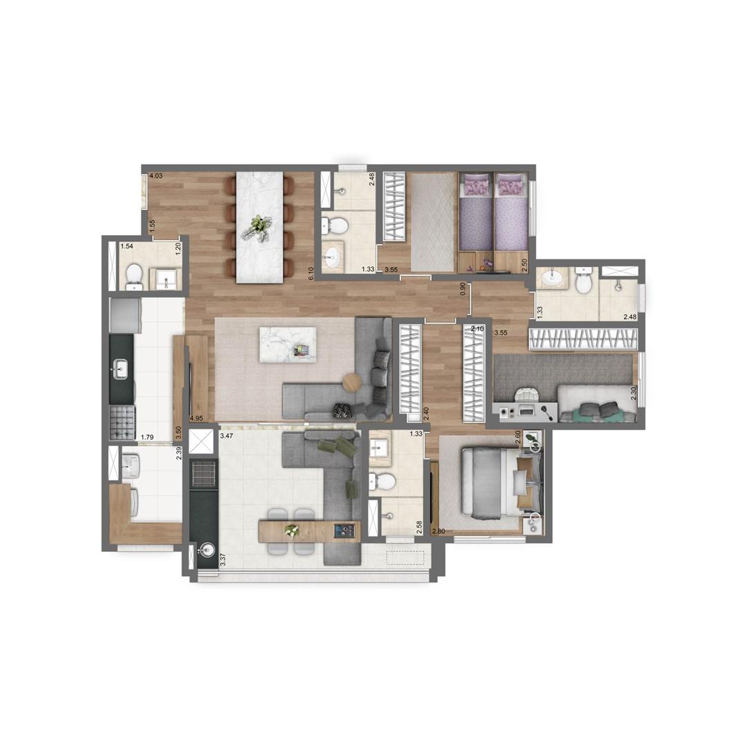 110 m² | 3 suítes | Sala Ampliada