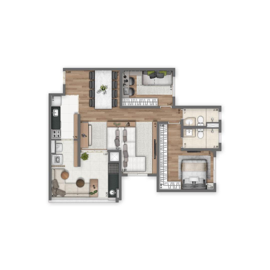 84 m² | 2 quartos (1 suíte) | Sala Ampliada