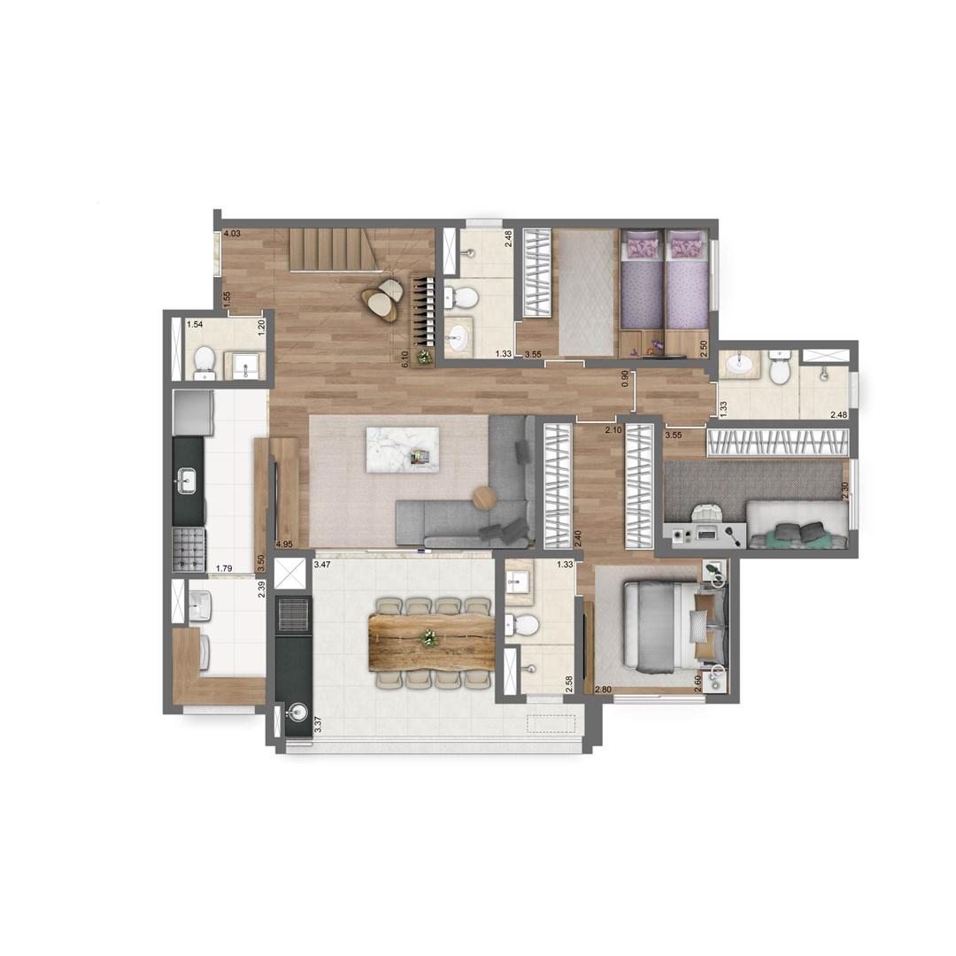 Duplex Inferior | 4 suítes